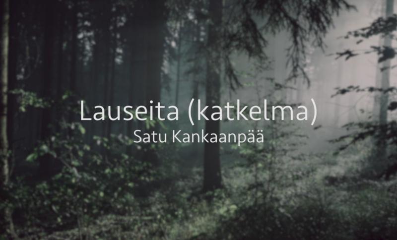 Utuinen metsä ja kuvan päällä valkoisella videon ja viittojan nimi.