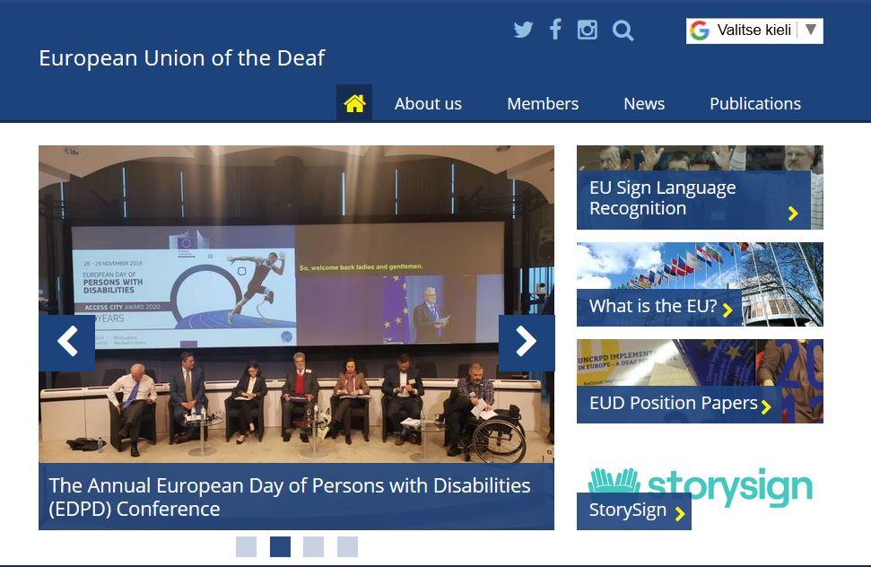 EUD verkkosivun valikko.