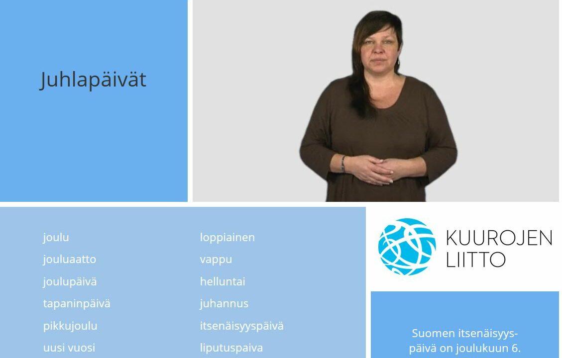 Nainen katsoo kameraan, kädet vatsan päällä, ympärillä suomen kielisiä sanoja.