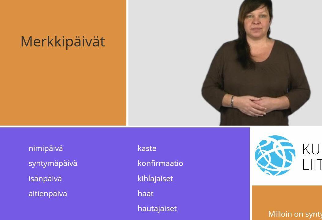 Nainen katsoo kameraa ja ympärillä on suomen kielen sanoja.