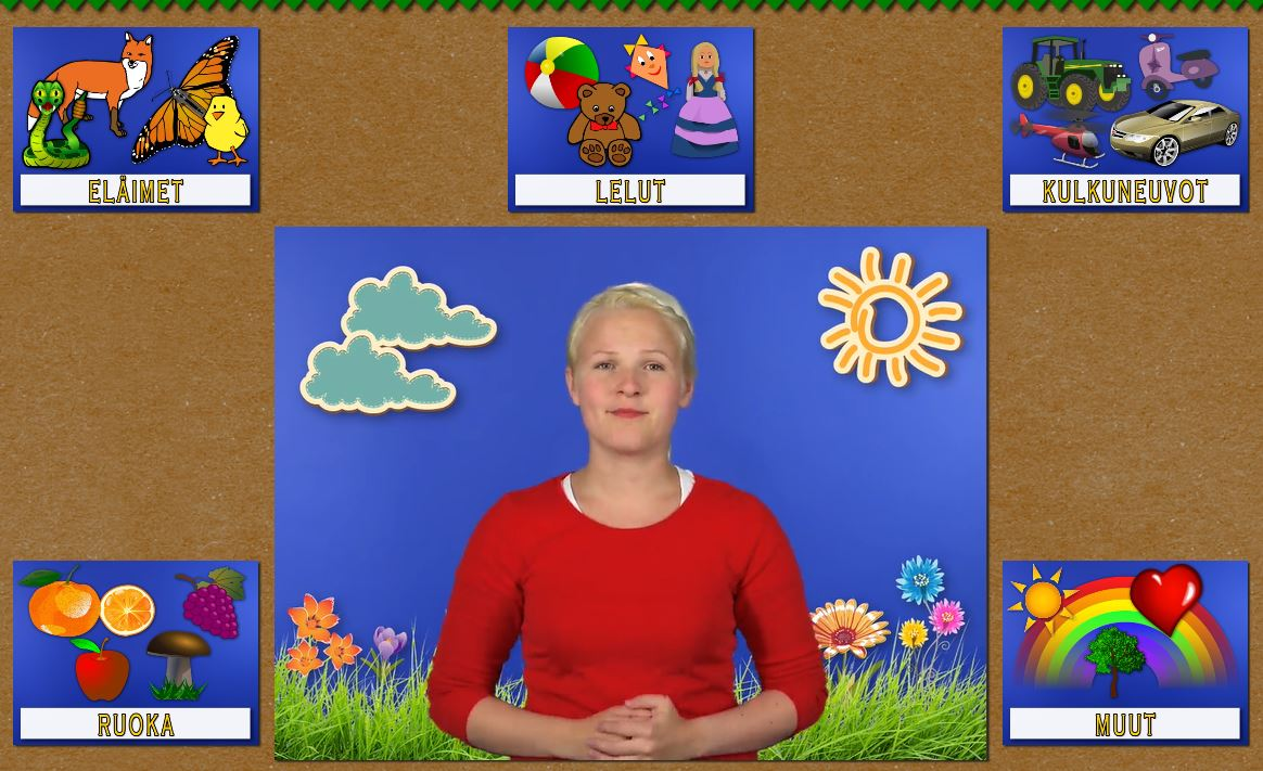 Ruudn sisällä vaalea nuori nainen katsoo kameraa, ympärillä pelissä tarvittavia kuvia.