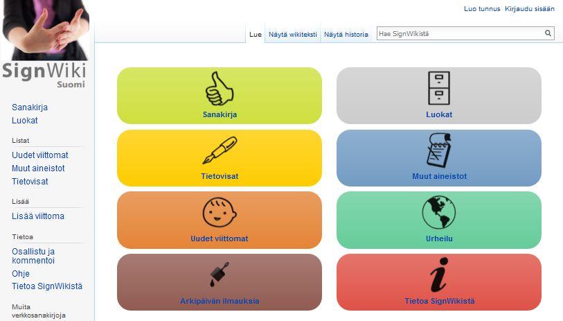 Aineiston etusivun valikko,monta eriväristä painiketta, joissa ikonit ja tekstiä.