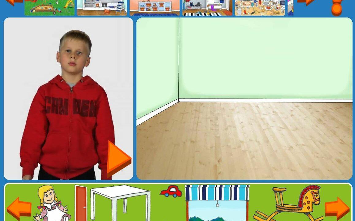 Vasemmassa reunassa seisoo pieni poika, muuten kuvassa on piirretty huone ja sen yläpuolella erilaisia tavaroita.