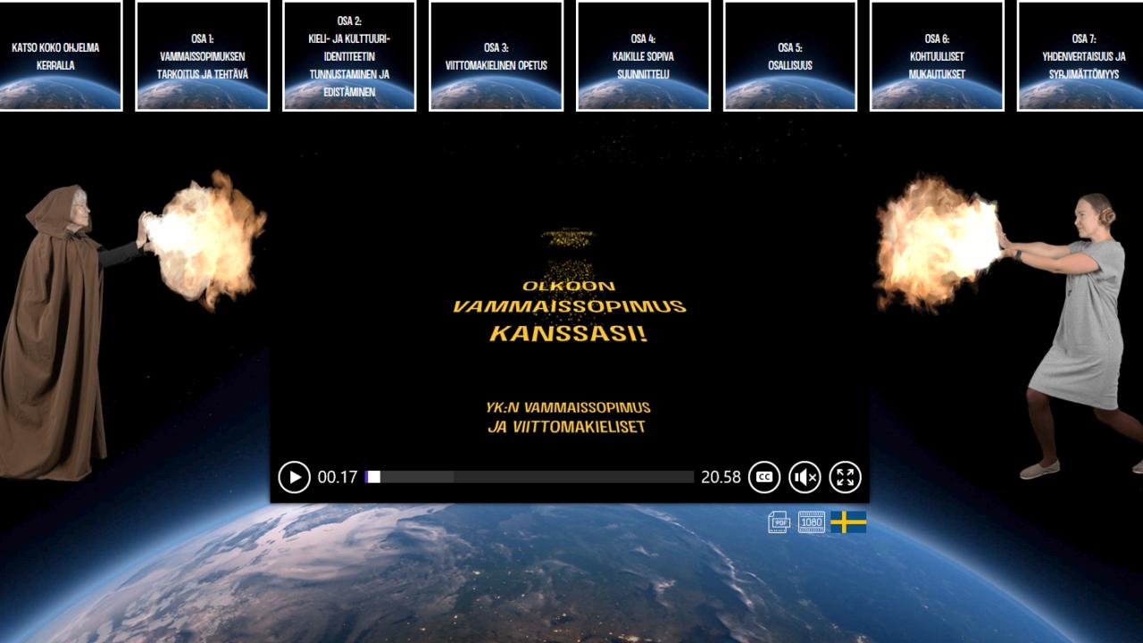 Tähtien sota teemainen kuva kahdesta taistelijasta, joiden käsistä syöksyy tulta, yllä videon nimi tekstinä.