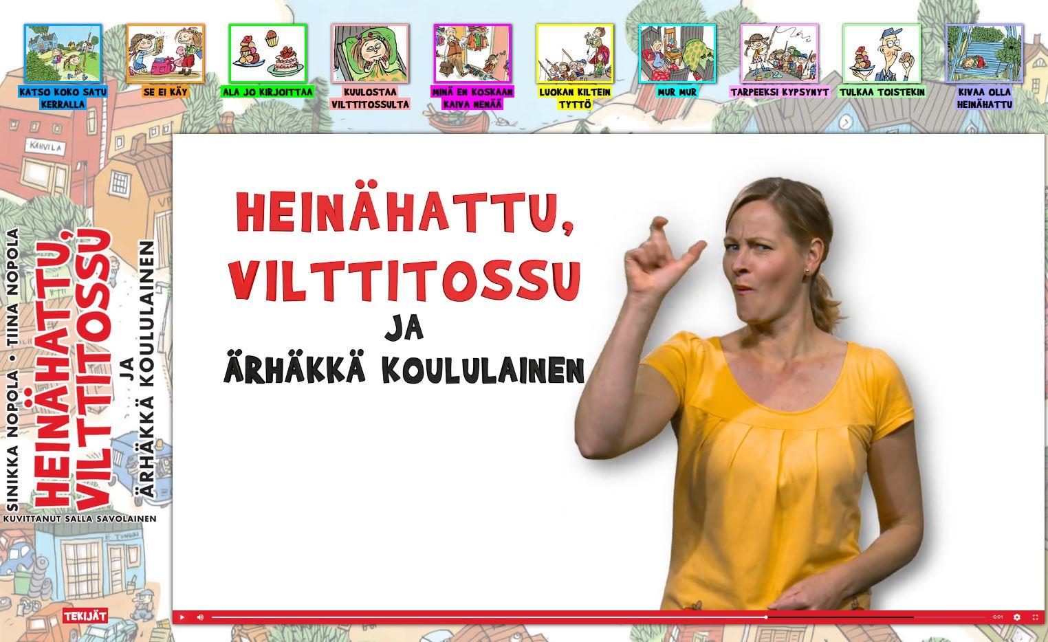 Keltapaitainen nainen viittomassa, ympärillä kirjan kuvistusta piirroskuvina.