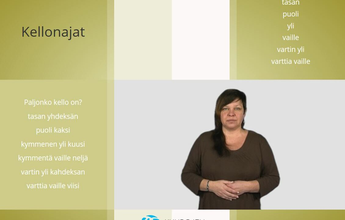 Nainen katsoo kameraan, kädet vatsan päällä, ympärill suomen kielisiä sanoja.