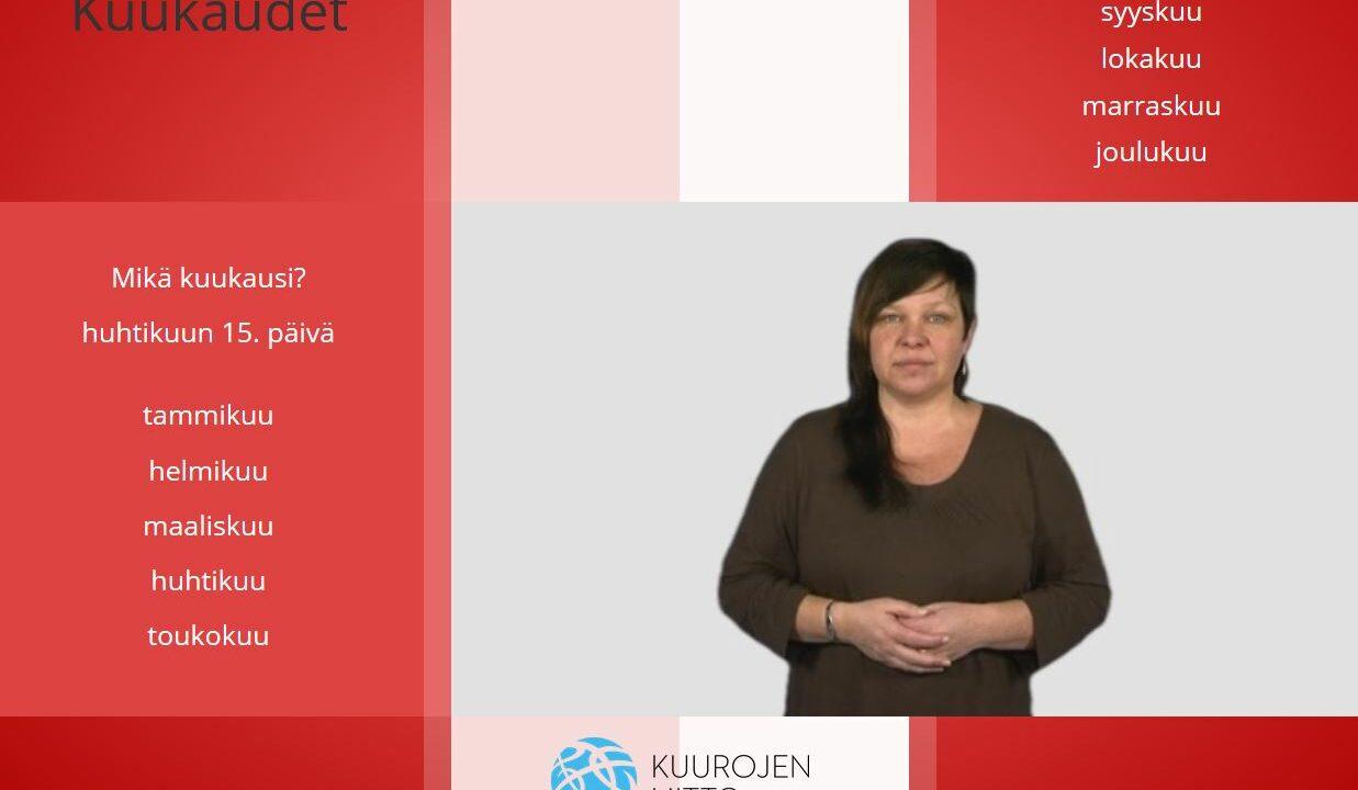 Nainen katsoo kameraan,ympärillä suomen kielen sanoja.