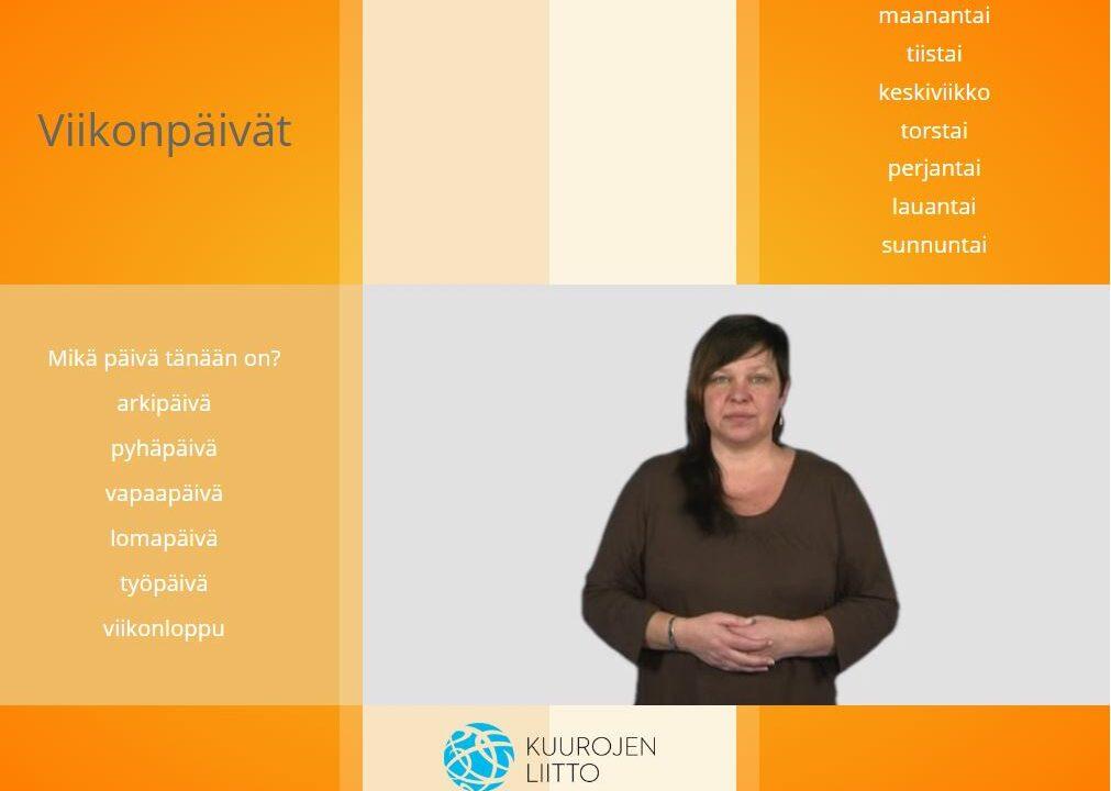 Nainen katsoo kameraan, ympärillä suomen kielen sanoja.