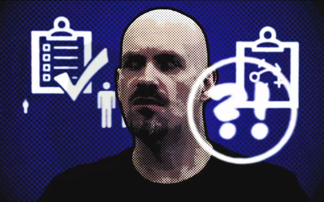 Kalju miehen pää, graafisia ikoneja, kysymys- ja huutomerkki.