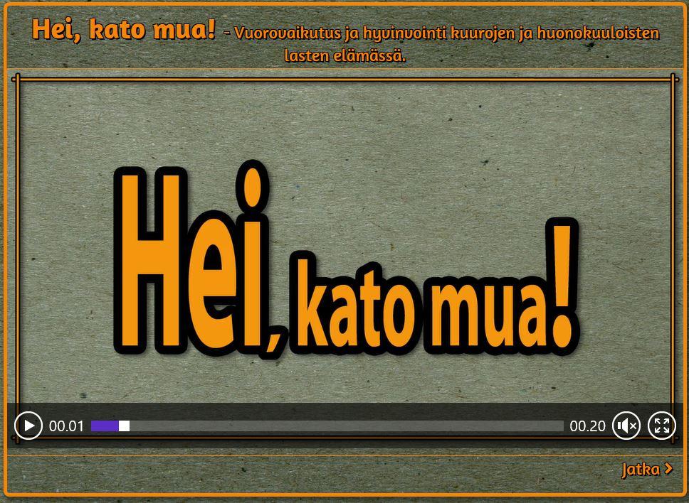 Siniharmaalla pohjalla tekstinä videon nimi oranssin kirjaimin.