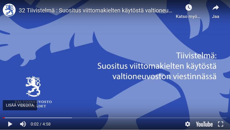 sinisellä taustalla videon nimi valkoisella.