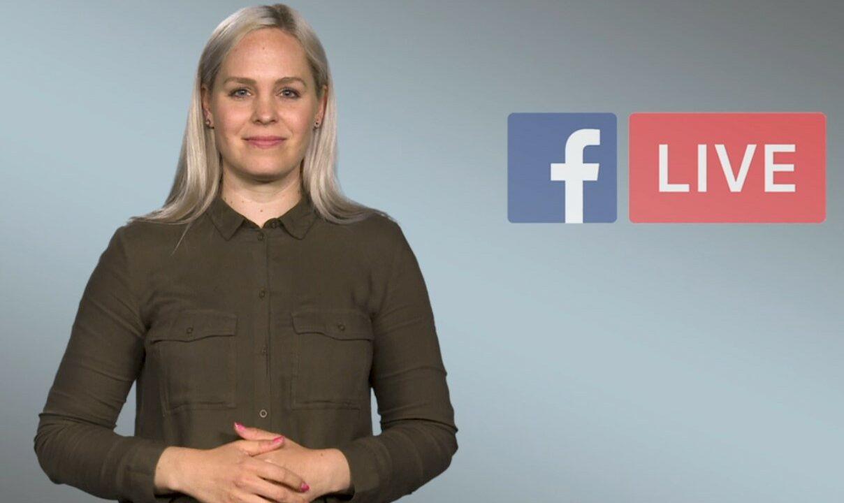 Harmaalla taustalla nuori nainen katsoo kameraan ja vieressä kaksi logoa: Facebook ja LIVE:.
