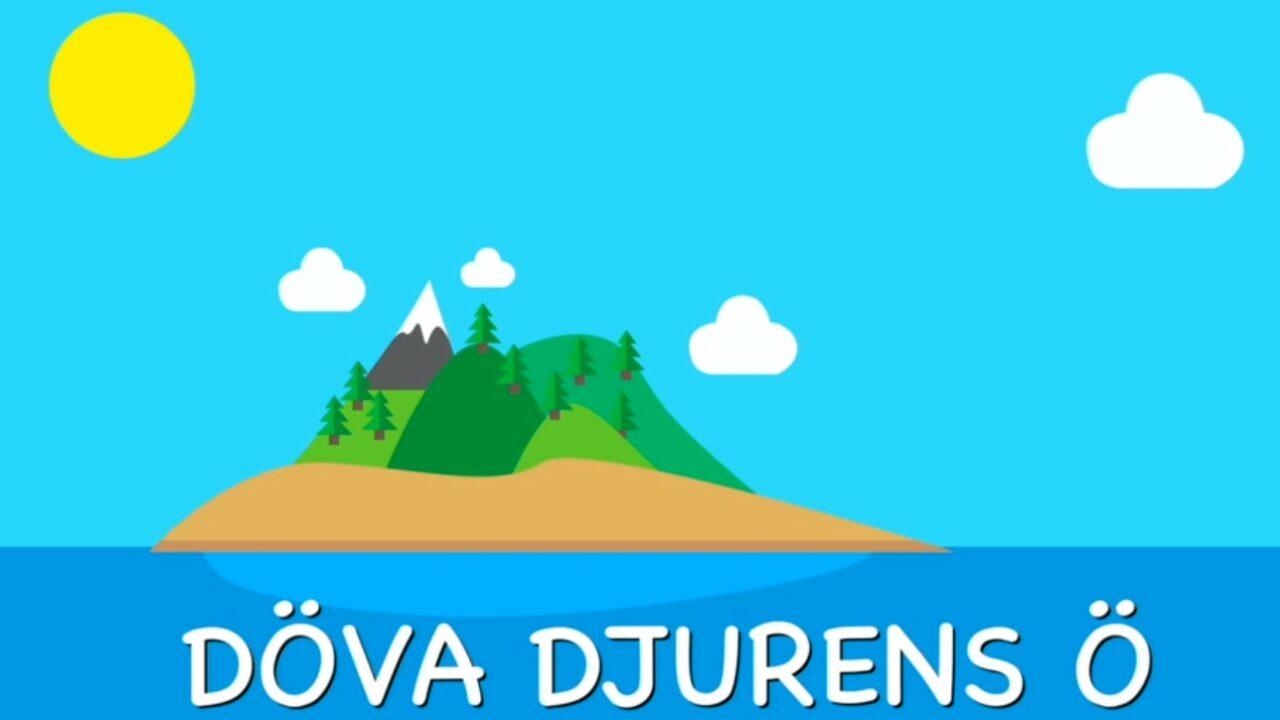 sinisellä taustalla piirretty saari, jonka keskellä valkeahuippuinen vuori.