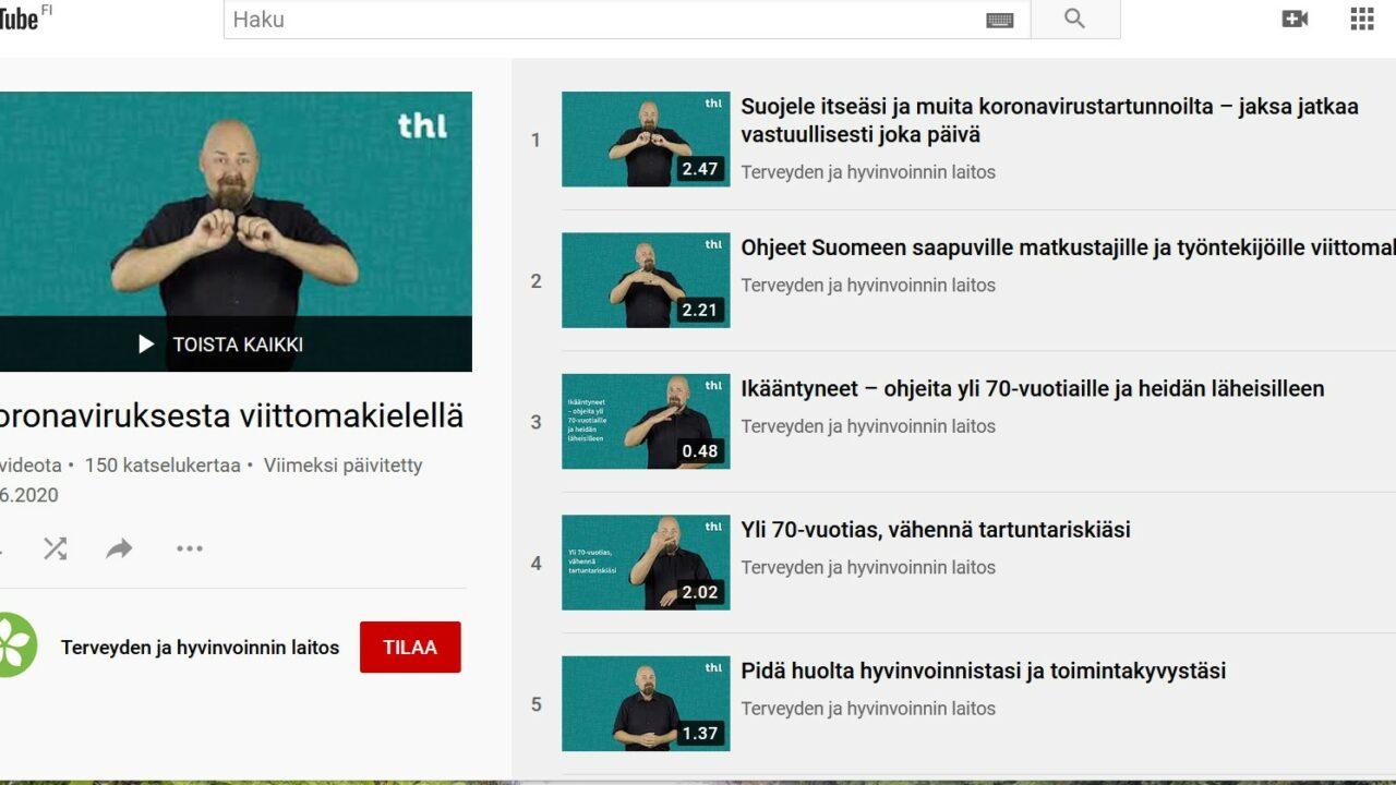 Kuva THL:n YouTube sivulta. Monta pientä videoruutua, joissa kaikissa näkyy mies.