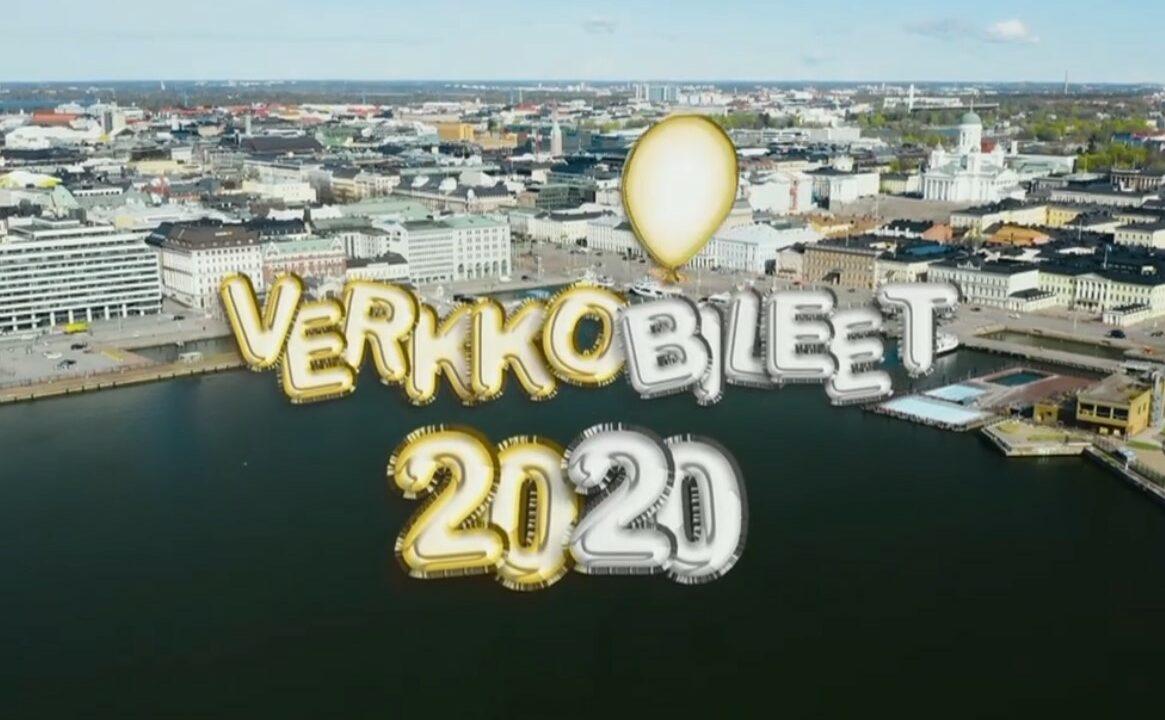 Ilmakuva Helsingin keskustasta, päällä videon nimi.