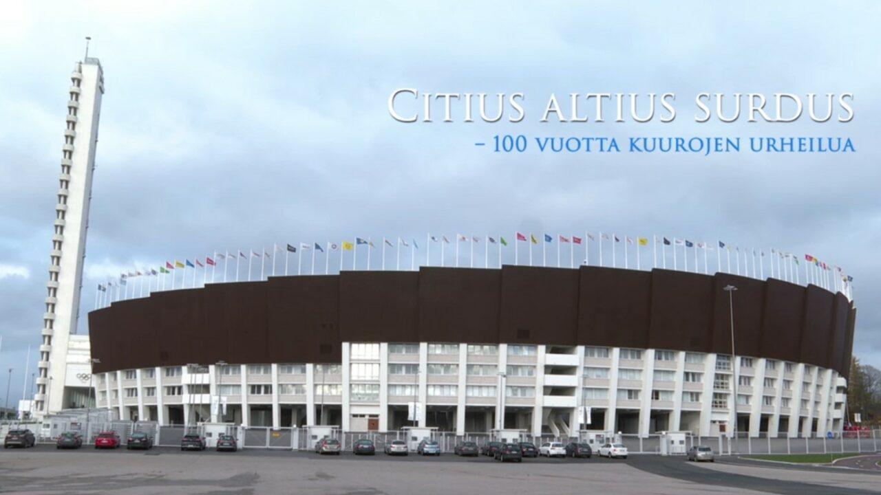 Olympiastadion ulkopuolelta ja päällä videon nimi tekstinä.
