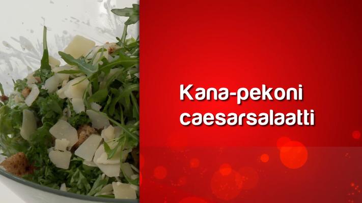 Kuvassa on salattia ja teksti kana-pekoni caesarsalaatti.